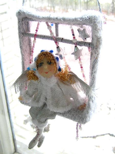 Зимний ангелочек  авторская кукла