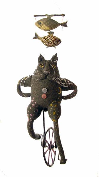 Кот на моноцикле  авторская кукла