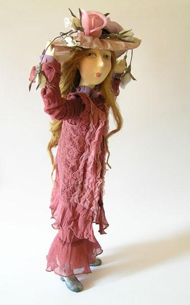 Дама в шляпе  авторская кукла