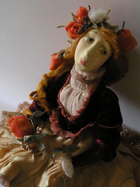 Барышня с розой  авторская кукла