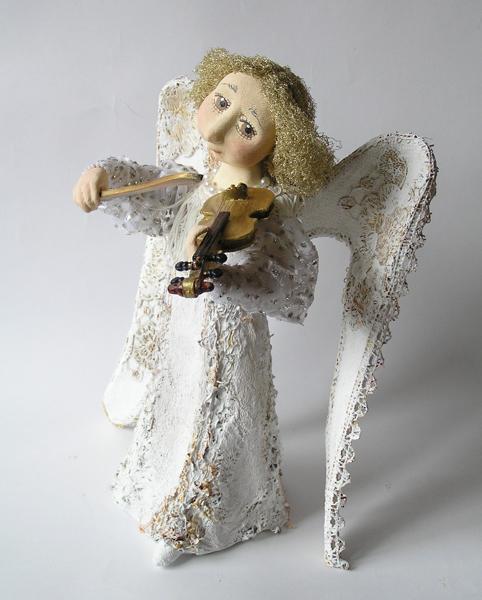 авторская кукла ангел со скрипкой