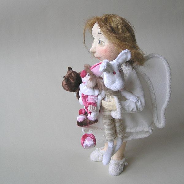 Ангел с игрушками мишка клоун зайчик зайка авторская кукла