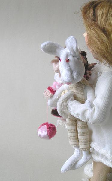 Ангел с зайкой зайчик авторская кукла
