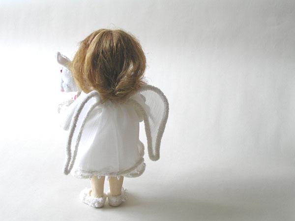 Ангел с зайкой авторская кукла