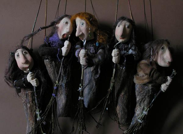 бабки-ёжки авторские куклы папье-маше