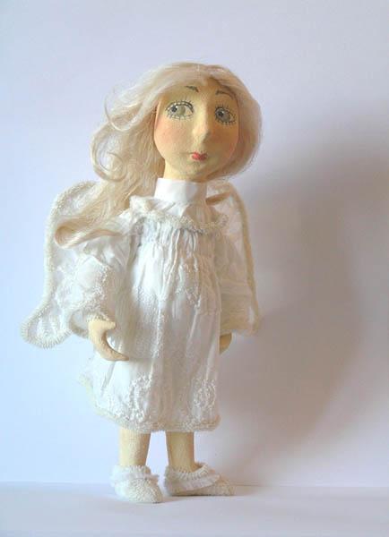 Ангел авторская кукла папье-маше текстиль