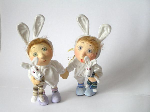 авторская кукла зайцы зайчики папье-маше текстиль