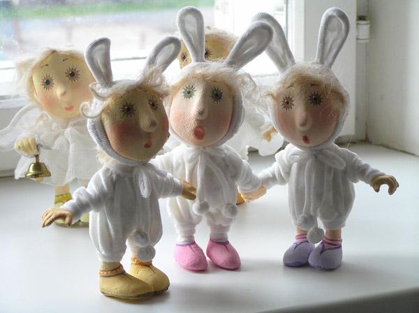 Зайцы зайчики Авторская кукла папье-маше текстиль