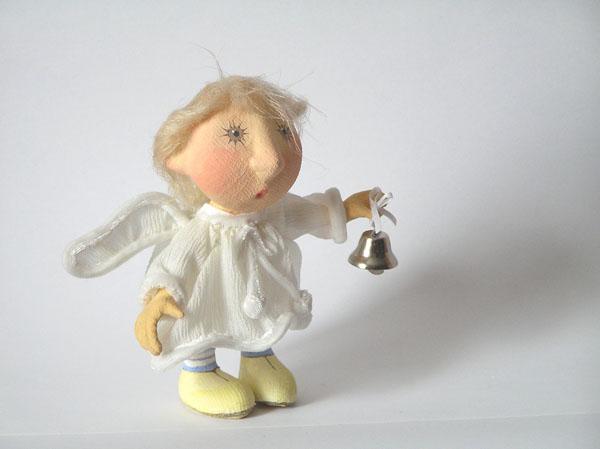 Ангелочек с колокольчиком Авторская кукла папье-маше текстиль