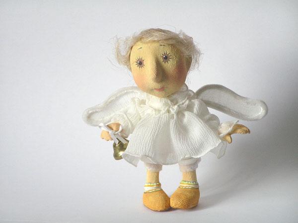 ангелочек Авторская кукла папье-маше текстиль