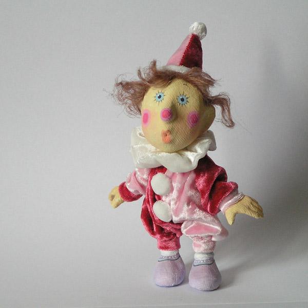 Клоун авторская кукла папье-маше текстиль